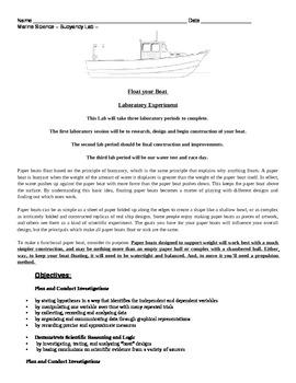 Marine Science Buoyancy Hands On Paper Boat Building Creat