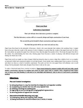 Marine Science - Buoyancy - Paper Boat Building Lab