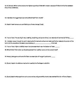 Marine Science Semester Exam 2