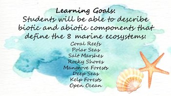 Marine Science Standards and Learning Goals