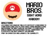 Mario Bros. Sight Word Kaboom