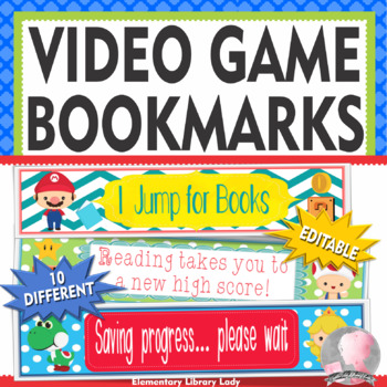 Mario Bros Video Game Bookmarks, Shelf Markers or Desk Name Plates - EDITABLE