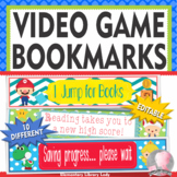 Video Game Decor EDITABLE Bookmarks, Shelf Markers Desk Name Plates