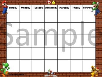 Mario Brothers Calendar
