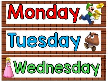 Mario Brothers Calendar Set