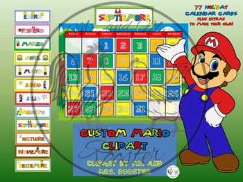 Mario Calendar Bundle in SPANISH! {Calendar, Months, Etc.} Mario Theme Decor