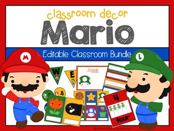 Super Mario:  Classroom Decor Editable Bundle