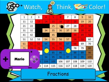 Mario Inspired Fractions Practice - Watch, Think, Color Mystery Pictures