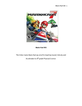 Mario Kart Wii as a tool for teaching Speed, Velocity and Acceleration