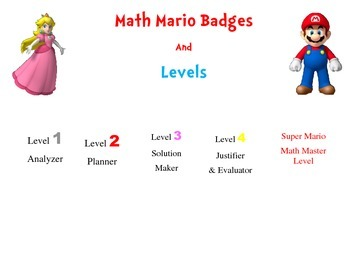 Mario Math Incentive Game Badges