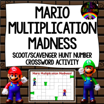 Mario Multiplication Madness {Scoot/Scavenger Hunt Number Crossword Activity}