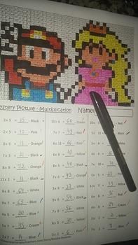 Mario & Princess Peach - Mystery Picture - 4 operations - Four level difficulty