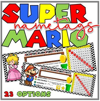 Mario Theme Race Car Desk Plate/ Name Tag