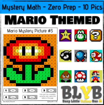 Mario Themed Mystery Math Pictures (Number Recognition) NO