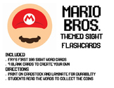 Mario-Themed Sight Word Flashcards Fry's First 100
