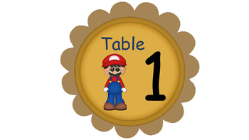 Mariobro Theme Classroom Helper And Tables Signs
