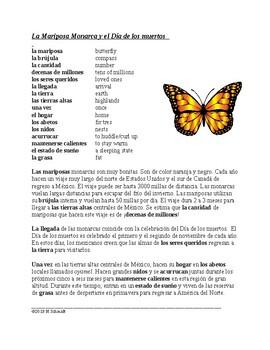 Mariposa Monarca y el Día de los Muertos Lectura y Cultura (Spanish 1 Version)