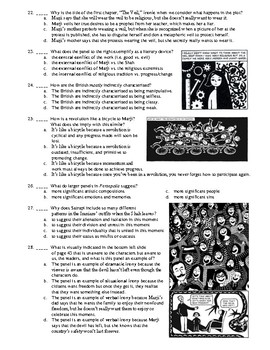 Marjane Satrapi S Persepolis 50 Question Matching And Multiple Choice Test