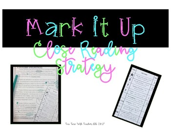 Mark It Up Bookmark for Close Reading