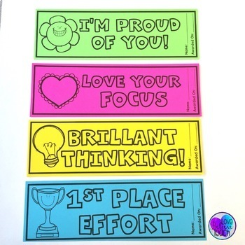 Classroom Reward Bookmarks - Positive Reinforcement