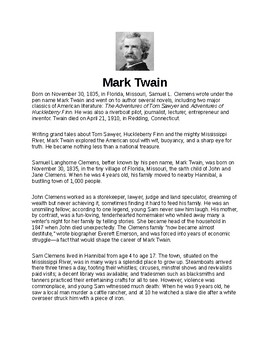 Mark Twain Article Biography and Assignment