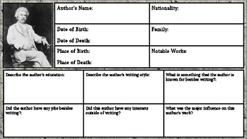 Mark Twain: Author Biography Worksheet/ Graphic Organizer