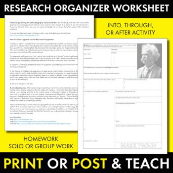 Mark Twain Author Study Worksheet, Easy Biography Activity, CCSS