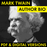 Mark Twain Author Study Worksheet, Easy Mark Twain Biograp