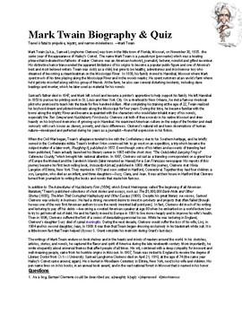 Mark Twain Biography & Quiz (w/ Answer KEY)