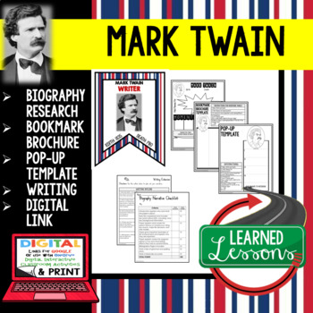 Mark Twain Biography Research, Bookmark Brochure, Pop-Up, Writing, Google Link
