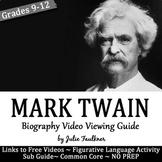 Mark Twain Biography Video Viewing Guide, Printable & Digital