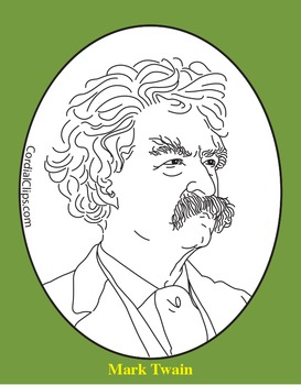 Mark Twain Clip Art, Coloring Page, or Mini-Poster