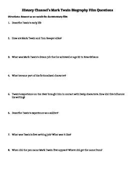 Mark Twain Documentary Film Questions
