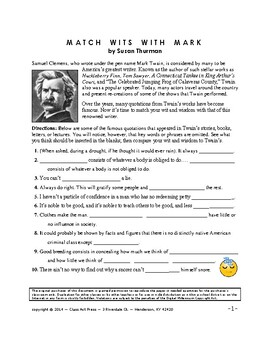 Mark Twain: Examine Famous Quotes: Literature, Critical Thinking (5 Pg., $3)