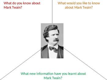 Mark Twain Graphic Organizer KWL Activity