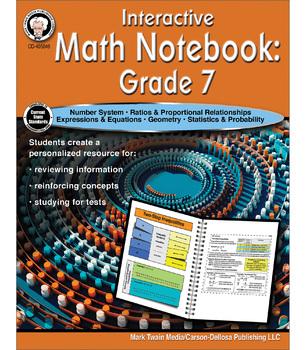 Mark Twain – Interactive Math Notebook Resource Book, Math Workbook, Grade 7