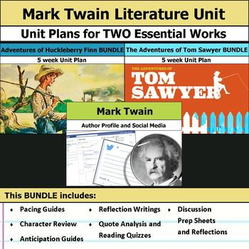 Mark Twain Literature Unit - Adventures of Huckleberry Finn & Tom Sawyer