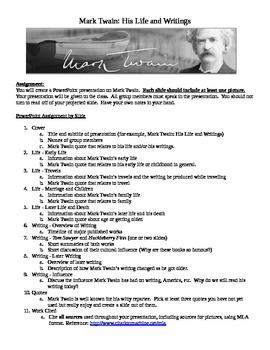 Mark Twain Presentation Assignment Sheet