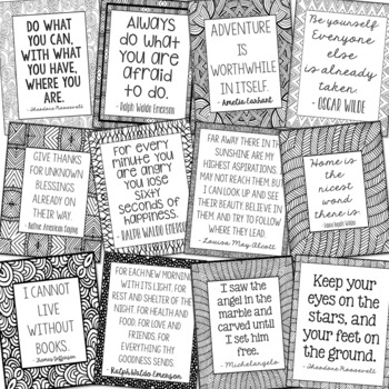 Bundle of 24 Inspirational Quote Posters, Writing Prompts, Class Discussion