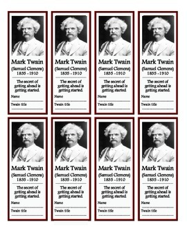 Mark Twain (Samuel Clemens) Bookmarks (FREE!)