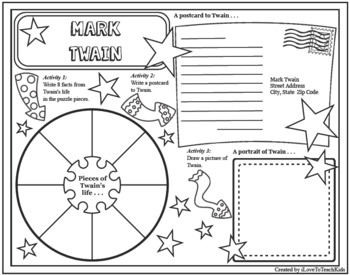 Mark Twain Timeline Poster Acrostic Poem Activity with Reading Passage