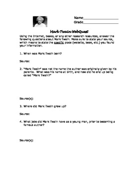 Mark Twain Webquest with Answer Key! by The Enchanted ...