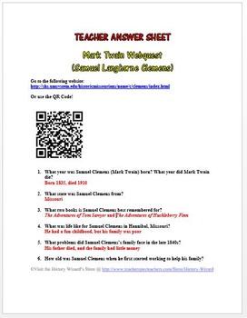 Mark Twain Webquest (Samuel Langhorne Clemens)