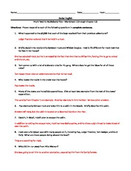 Mark Twain's The Adventures of Huckleberry Finn--Complete Study Guide Packet