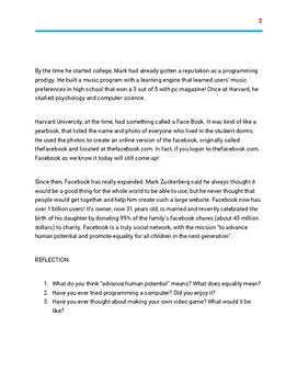 Mark Zuckerberg Comprehension Worksheet
