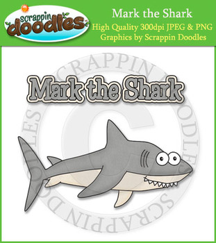 Mark the Shark Reading Strategy Clip Art Image with Word Art & Line Art
