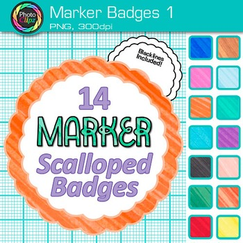 Marker Badges Clip Art {Labels & Frames for Worksheets & Resources} 1