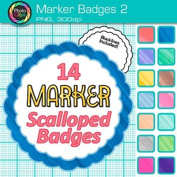 Marker Badges Clip Art {Labels & Frames for Worksheets & Resources} 2
