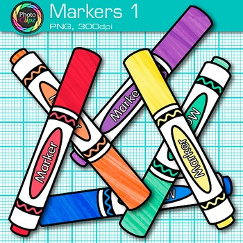 Rainbow Marker Clip Art {Back to School Supplies for Classroom Decor} 1