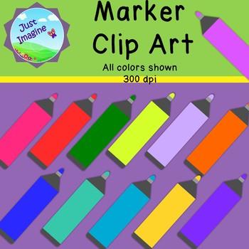 Marker Clipart - 12  colors - 300 dpi